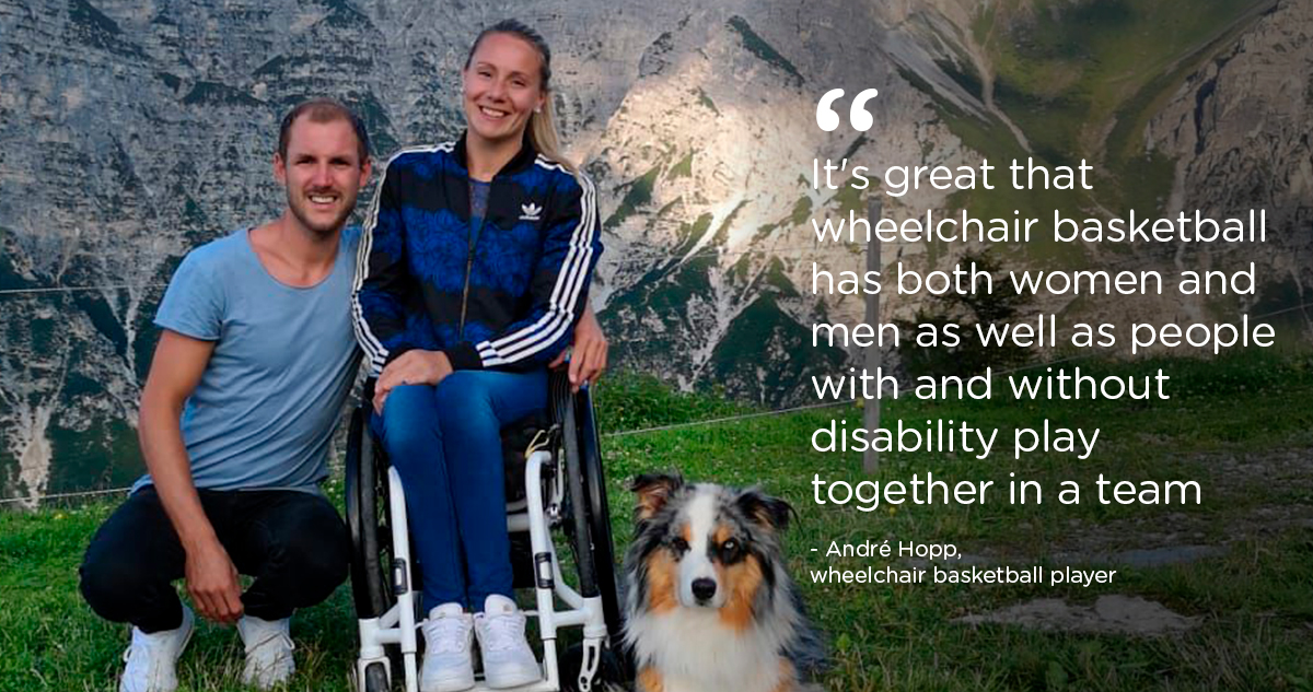 Woman in wheelchair with man and dog. Quote: It's great that wheelchair basketball has both women and men as well as  people with and without disability play together in the same team